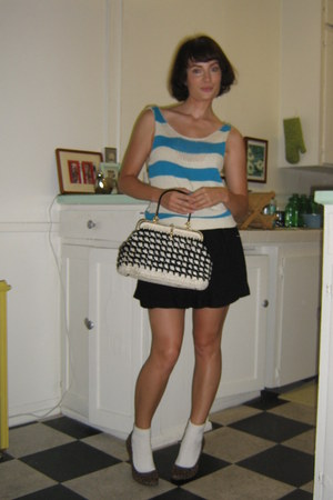 H&M pumps - vintage purse - ankle white socks - BDG skirt - thrifted vintage top