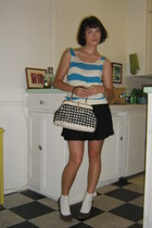 H&M pumps - vintage purse - ankle white socks - BDG skirt - thrifted vintage top