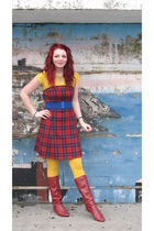 gold Beysey Johnson tights - red boots - red Americasn Eagle dress - blue Walmar