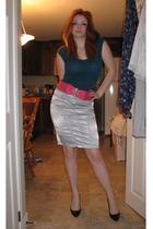 Bootlegger shirt - ardenes belt - skirt - le chateau shoes