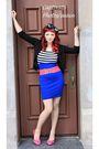 Pink-betsey-johnson-shoes-blue-thrifted-skirt-black-thrfted-t-shirt-black-