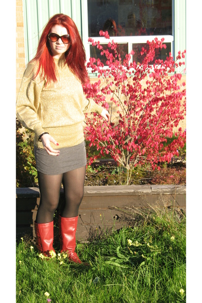 red boots - gray Sirens skirt - gold sweater - black Betsey Johnson sunglasses -