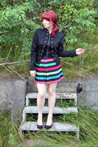 hot pink pleated skirt H&M skirt - black military Suzy Shier jacket