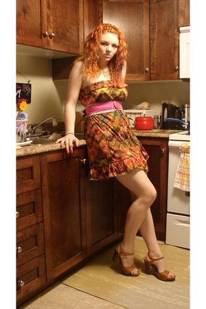 Robin K dress - thrifted belt - ardenes belt - Spring shoes