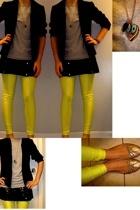 thrifted blazer - vintage skirt - American Apparel leggings - H&M necklace - Tar