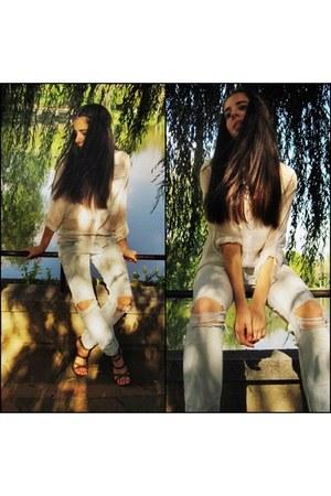 light blue Tally Weijl jeans - white Bershka shirt - brown Stradivarius heels