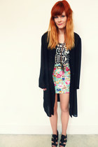 white aztec new look top - black sheer shirt - aquamarine floral OASAP skirt