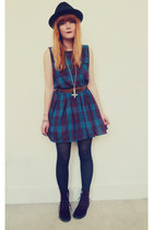 teal tartan vintage dress - brick red velvet doc martens boots