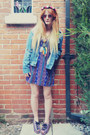 Blue-aztec-dress-blue-denim-waiste-jacket