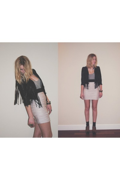 fringe H&amp;M jacket - H&amp;M skirt - sam edelman wedges