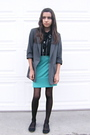 Gray-h-m-blazer-black-urban-outfitters-blouse-blue-urban-outfitters-skirt-