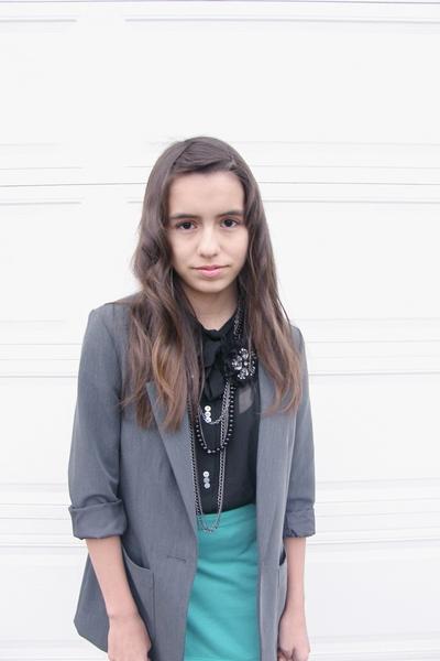 blue high waisted Urban Outfitters skirt - gray blazer H&M blazer