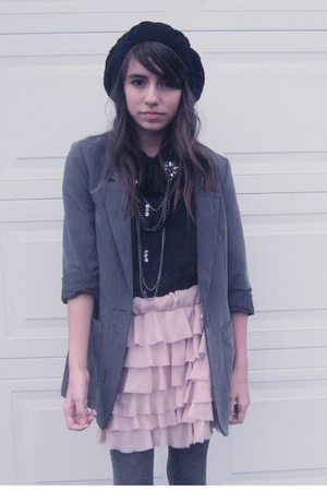 gray H&M blazer - black Urban Outfitters blouse - pink Zara skirt - gray joes ti