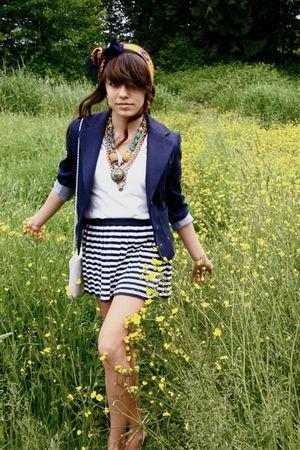 gold accessories - blue blazer - white bag - white t-shirt - blue skirt