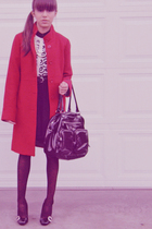 red unknown brand coat - white H&M sweater - black Buffalo skirt - black dollar