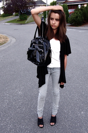 H&M purse - sweater - top - jeans - shoes
