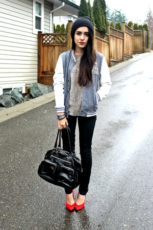 black H&amp;M bag - charcoal gray Sirens jacket - black Sirens pants