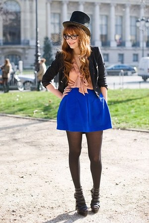 blue no brand skirt - leather no brand jacket