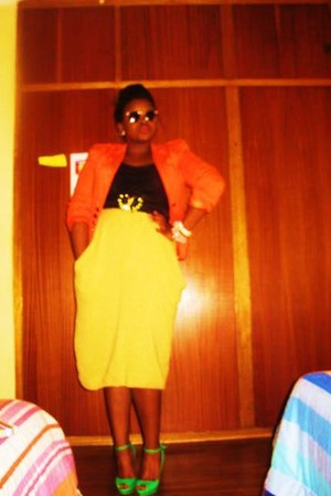 orange no brand blazer - black no brand top - mustard no brand skirt