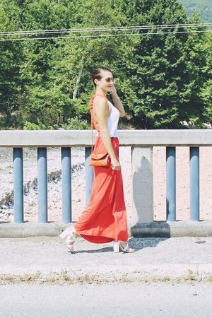 carrot orange maxi dress anel dress - burnt orange chain fullah sugah purse