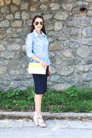 white color block H&M purse - black aviator H&M sunglasses