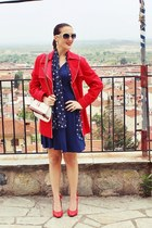 red trench coat Billy Sabbado jacket - navy sammydress dress