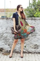 olive green floral print dress - navy denim united colors of benetton jacket