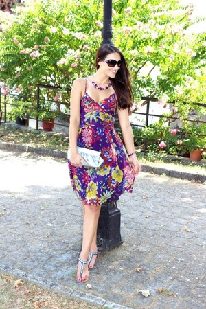 purple floral print dress - navy rhinestones Avon flats