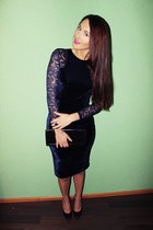 navy velvet lace sammydress dress - black vintage purse