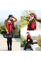 red knitted dress - black suede boots - gray plaid hat