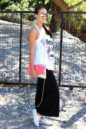 black maxi skirt Terranova skirt - color block H&M purse