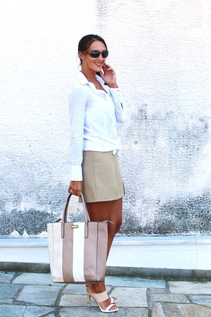 white Terranova shirt - stripes fullah sugah bag - tan mini skirt Sasch skirt