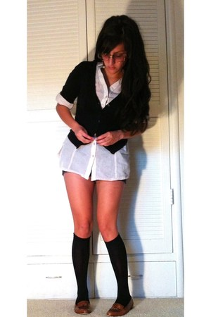 collared J Crew shirt - Hurley shorts - knee-high socks - tassled thrift loafers