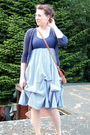 Blue-dress-blue-fox-cardigan-brown-flea-market-purse