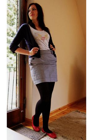 Fox jacket - Target t-shirt - payless shoes - H&M skirt - H&M tights