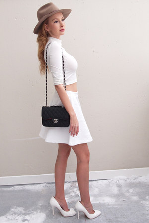 white Cubus skirt - beige Accessorize hat - black Chanel bag - white Bik Bok top