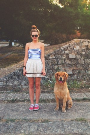 cream lace Zara skirt - dark brown Aldo sunglasses - blue stripes Oysho swimwear