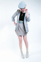 silver Topshop blazer - black bysi dress - beige bysi skirt - gray bysi belt - b