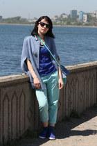 blue cotton Kari wedges
