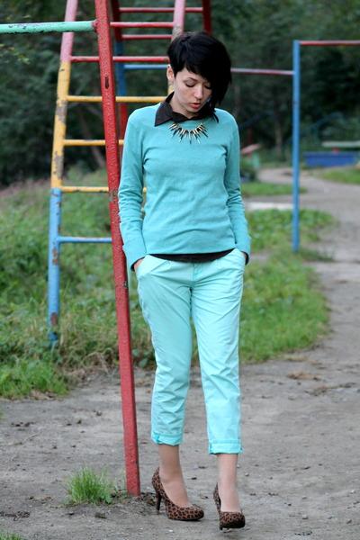 brown leopard print TopStudio pumps - aquamarine Mavi jeans