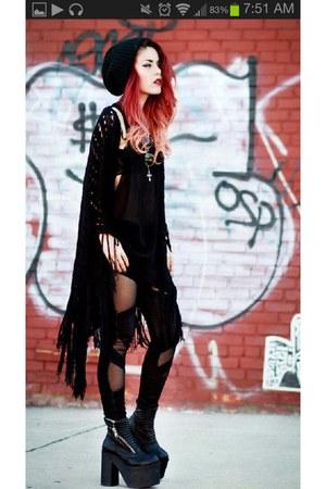 black tights - black cardigan