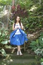 White-old-navy-top-blue-cotton-wavy-faded-glory-skirt