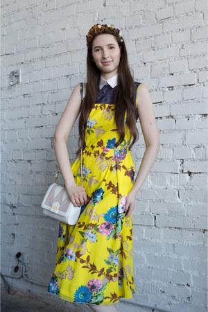 bag - flower print dress - flower crown hair accessory