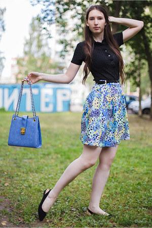 black black Mango shirt - sky blue bag - sky blue shorts - black Forever21 flats