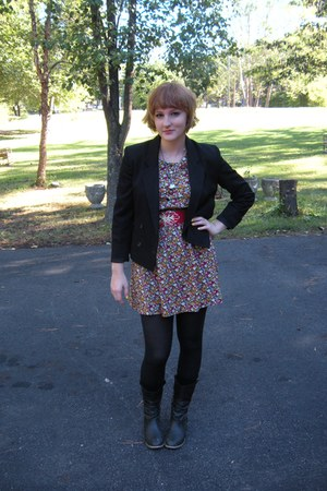 H&M dress - thrifted vintage blazer - thrifted vintage belt
