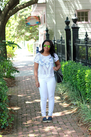 Chanel shoes - Gap jeans - Express shirt - Chanel bag - ray-ban sunglasses