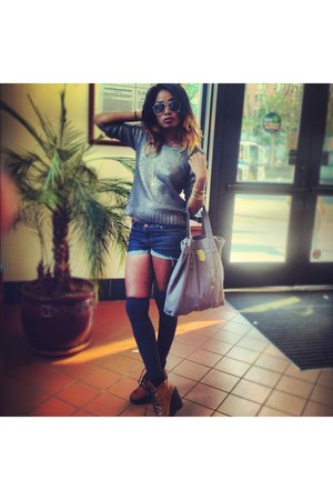 wedge Deena & Ozzy boots - Zara jeans - H&M sweater - bag