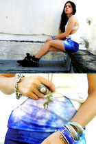 navy galaxy shirt - black boots - silver H&M bracelet - white diy top