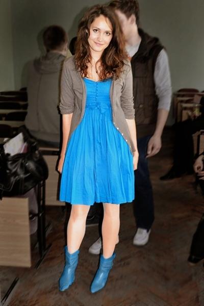 Topshop dress - insity blazer - mothers boots