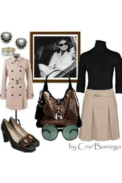 bronze winter Zara coat - black tee unknown blouse